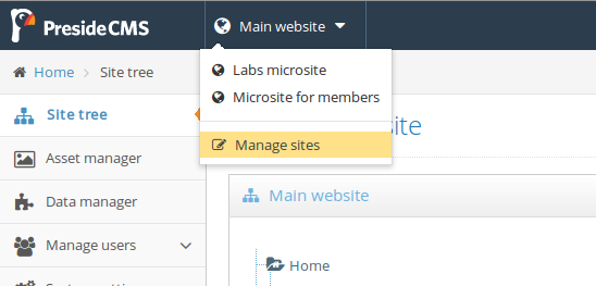Screenshot showing the site picker that appears in the administrator for users with access to multiple sites and / or users with access to the site manager.