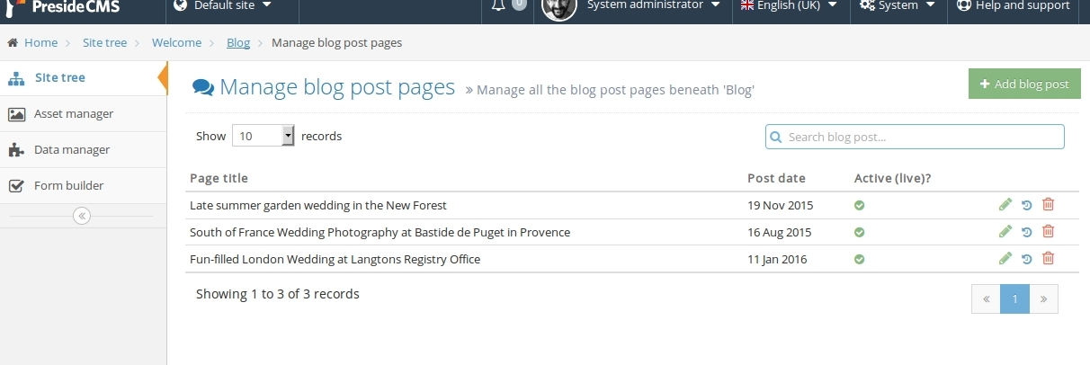 Screenshot of a managed pages grid